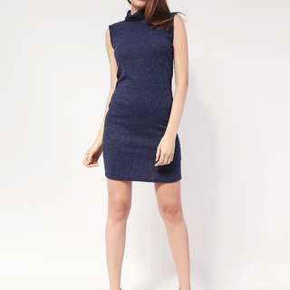 Tess Knit turleneck Sleeveless dress from Topmanila Clothing From Topmanila Clothing (Dark Blue)