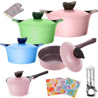Honhey 21pcs Cast Aluminum Cookware Set with Ecolon Coating Multicolored (PND-21-MULTI)