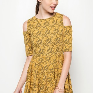 Ashley Collection Bella Cold Shoulder Fit&Flare Dress (916-Mustard)