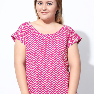 STRUCTURED EXTENDED SLEEVES TOP (Pink Chevron)