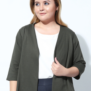 COLLARLESS QUARTER SLEEVES JACKET (Army Green)