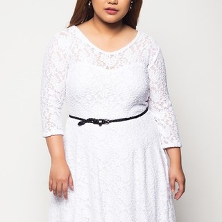 Ashley Collection Plus Size Radiance Lace Dress (1307-White)