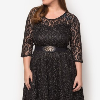 Ashley Collection Plus Size Radiance Lace Dress (1307-Glitter Black)