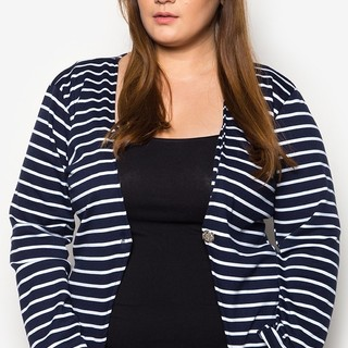Ashley Collection Plus Size Stripes Collection Blazer (1408-Stripes Navy Blue)