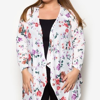 Ashley Collection Plus Size Flutter Freely Cardigan (1407-Floral White & Peach)