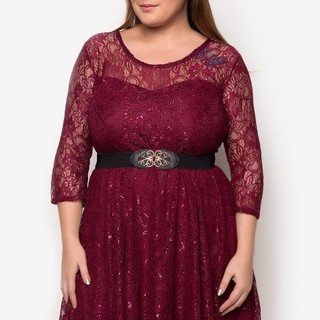 Ashley Collection Plus Size Radiance Lace Dress (1307-Glitter Maroon)