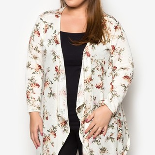 Ashley Collection Plus Size Flutter Freely Cardigan (1407-Floral Yellow)