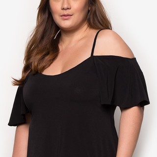 Ashley Collection Plus Size Oasis Strappy Cold Shoulder Top (1404-Black)