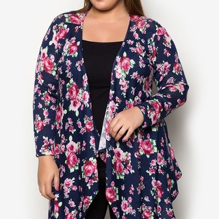 Ashley Collection Plus Size Flutter Freely Cardigan (1407-Floral Navy Blue)