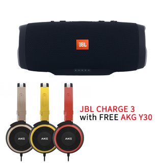 JBL CHARGE 3 Portable Bluetooth Speaker With Free AKG Y30