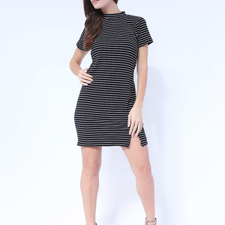 Sarah Knit Dress with Back zipper from Topmanila Clothing (Stripes Black)