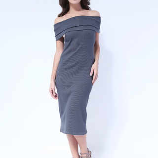 Karylle Off Shoulder Bodycon dress from Topmanila Clothing (Dark Gray)
