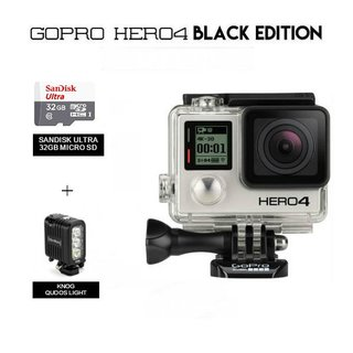 GoPro Hero 4 with Knog Qudos Light PLUS 32GB Memory Card (Black)