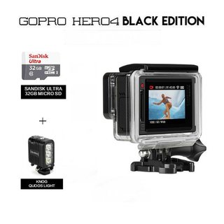 GoPro Hero 4 with Knog Qudos Light PLUS 32GB Memory Card (Silver)
