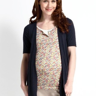 Fake 3 piece floral nursing top w/ cardigan - 1405N (Navy)