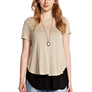 Two tone curved hem nursing top - 1411C (Light Khaki)