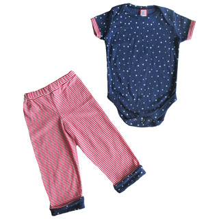 Blue Star Print Onesie Set with Striped Pants for boys